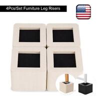 4pcs Adjustable Heavy Duty Furniture Risers Sofa Bed Table Chair Riser Legs Lift