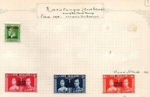 Cook Islands & Raratonga G5 & G6 with 1937 Coronation set of 3 mint on page.