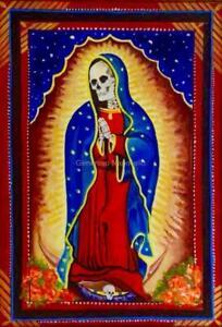 La Santa Muerte PRINT Day of The Dead Mexican Inspired Folk Death Art A2 A3 A4