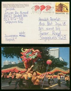 Mayfairstamps Singapore 1980s Dragon Dancers to Singapore Picture Postcard wwp79