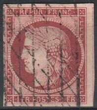 "FRANCE STAMP TIMBRE N° 6 "" CERES 1F CARMIN 1849 "" OBLITERE TB A VOIR  M025"