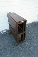 Early 1900s Mahogany Inlay Two Tier Drop Leaf Folding Card Game Table 9956