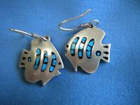 Vtg STERLING SILVER Earrings, Tropical FISH Turquoise Inlay MEXICO, 9.55 grams