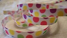 "Grosgrain Ribbon *Gumdrop Dot  Print* - 3/8""W - 5 Yards - Hair Bows& Crafts!"