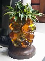 Mid Century Amber Lucite grape cluster Pineapple Lamp retro modern acrylic VTG
