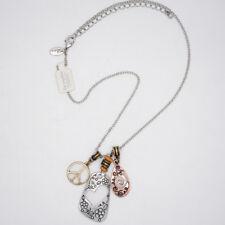 lia sophia signed jewelry vintage silver tone PEACE charm flower slide necklace