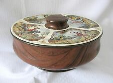 VINTAGE CANDY TIN..WOOD GRAINED BASE with FOUR HUNTING SCENES LID....NICE