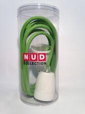 Nud Classic pendelleuchte-porcelana versión Weiss-textil cable 3m-manzana verde