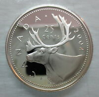 2004 CANADA 25 CENTS PROOF SILVER QUARTER HEAVY CAMEO COIN