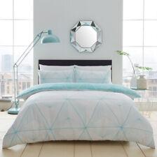 Zander Aqua Duvet Cover Geometric Stripe Double Quilt Bedding Set Pillow Case