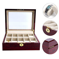 Wooden Watch Box 10 Slots Display Clear Top Jewelry Case Organizer New Fashion