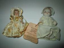 "Shackman Vintage Bisqye Baby Doll 5"" long & Porcelain Girl Doll in Dress 5"" long"