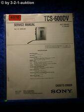 Sony Service Manual TCS 600DV Cassette Corder (#4070)