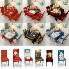 Christmas Tablecloth Stretch Chair Cover Slipcover Covers Chair Room Dining !