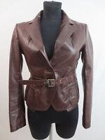 Patrizia Pepe Jacke Lederjacke Lederblazer Braun Leather Jacket It.44 D.40 TOP