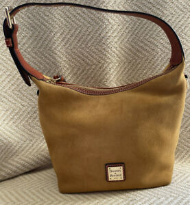 NWT Dooney & Bourke Suede PAIGE Crossbody Shoulder Leather CHAMOIS HOBO $150