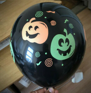 12 Orange & Black Printed Halloween Balloons Party Fancy Dress Decor Bat Pumpkin