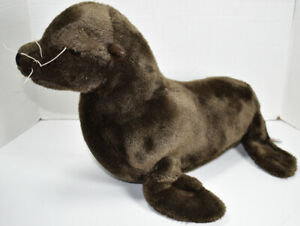 FAO Schwarz LARGE BROWN SEA LION SEAL Stuffed Animal PLUSH SOFT TOY Schwartz