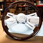 18 Dark Wood Steering Wheel Chrome Dual Spoke Kenworth Peterbilt Hub Included
