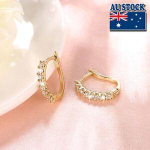 Wholesale 18K Gold Filled GF Huggie Hoop Earrings With Zircon CZ Crystal