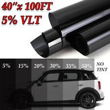 "40""x100FT 5% VLT Black Car Home Glass Office Window Tint Tinting Film Vinyl Roll"