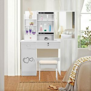 Makeup Vanity Dressing Table Set Dresser Desk Mirror Drawers Shelves w/ Stool