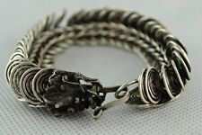 Old Chinese Wonderful Handwork Miao Silver Dragon Bracelet   0107