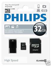 Philips MicroSDHC-Card 32GB, Class10 mit SD und USB Adapter
