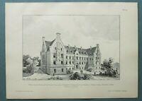 AR89) Architektur Königsthal Danzig 1889 Wilh Aug Blindenanstalt Holzstich 28x39