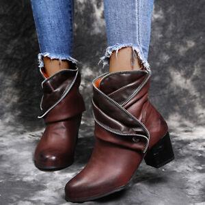 Retro Punk Zip Cowboy Combat Party Shoes Women Biker Ankle Boots Low Block Heels