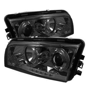 Fit 06-10 Charger Smoke Halo LED Projector Headlights RT SE SXT SRT-8 Daytona