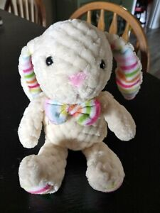 Super Soft White and Pink Chenille small Bunny Rabbit Plush with striped bowtie