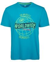 Ideology Mens T-Shirt Green Blue Size Large L Crewneck Worldwide Print Tee 105