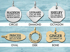 Personalized Dog ID Tag Custom Engraved Pet Tags Double Sided Charm Brass Steel