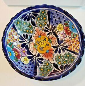 Talavera Bowl Large Ceramic Mexican Pottery Serving Dish Folk Art Cobalt Blue
