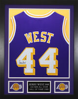 Jerry West Autographed & Framed Los Angeles Lakers Purple Jersey JSA COA D1-S