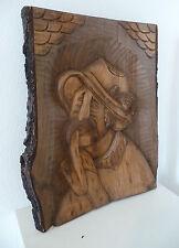 """Tableau en bois sculpté ancien  sur planche de bois Brut  """"  Fumeur à la pipe  """""""