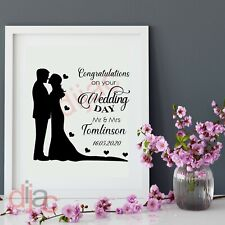 WEDDING DAY (D2) PERSONALISED VINYL DECAL STICKER for FRAME BLOCK 15 x 15 cm