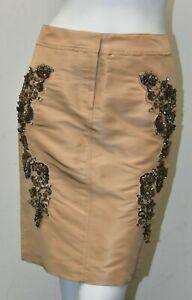 NEW Roberto Cavalli Skirt SILK Dark beige INTRICATE BEADING XS