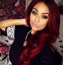 """US Wine Red Synthetic Hair Wigs Ombre Burgundy Long Wavy Synthetic Wigs 24"""""""