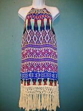 Jodi Kristopher Fringe Halter Multicolor Dress Size S NWT