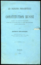 Arthur Desjardins : Principes Fondamentaux de la CONSTITUTION RUSSE -1897,Russie