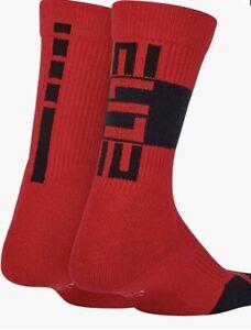NWT NIKE Elite Dri-Fit Crew Socks Unisex Youth Sz Small 3Y-5Y Red / Black 2 Pair