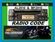 Original Radio Code Mercedes Benz Alpine AUDIO 10 CD MF2910 AL2910 KEY CODE