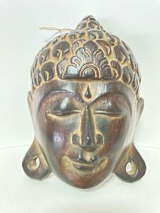 """Buddha Face Wooden Mask Hand Carved Art Wall Hanging Home Decoration 8"""" Inches"""