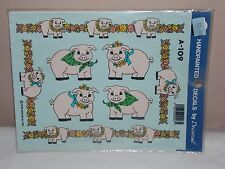 Vtg 1992 Decoral Handpainted Waterslide Decals Fancy Pigs A-109 New Old Stock