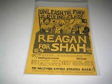 REAGAN FOR SHAH EARLY 1980's ORIGINAL VINTAGE POLITICAL POSTER  BERKLEY CA (526)