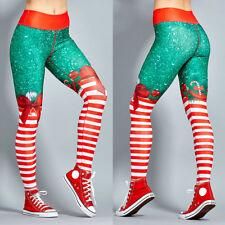 Womens High Waist Yoga Pants Christmas Xmas Sports Leggings Workout Trousers G13
