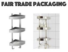 Stainless Steel Shower Rack 3 Tier Unit Bathroom Corner Wall Shelf Grundtal Ikea