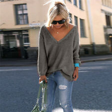 Women's V-Neck Knitted Sweater Oversized Long Sleeve Loose Jumper Tops Knitwear